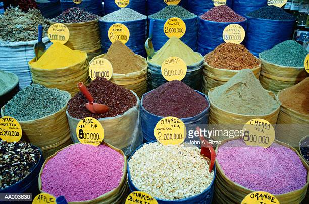 Spices and Teas for Sale in an Istanbul Market