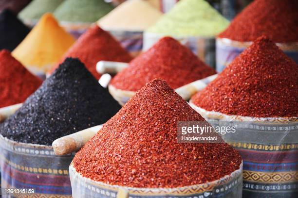 spices and teas sell on the egyptian market in istanbul - istanbul stock pictures, royalty-free photos & images