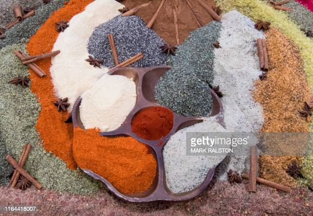 Spices are displayed at the Western Food and Beverages Expo at the Convention Center in Los Angeles on August 27 2019