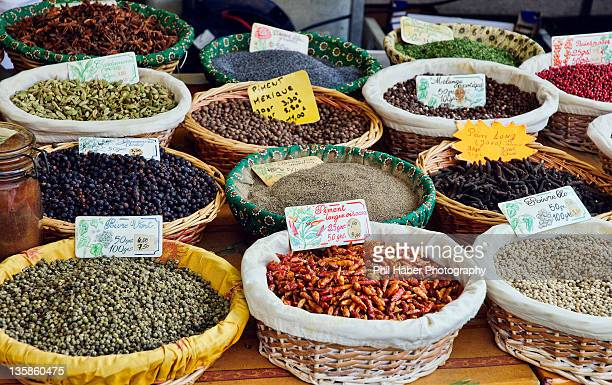 spices at market in aix-en-provence: spices - phil haber stock pictures, royalty-free photos & images
