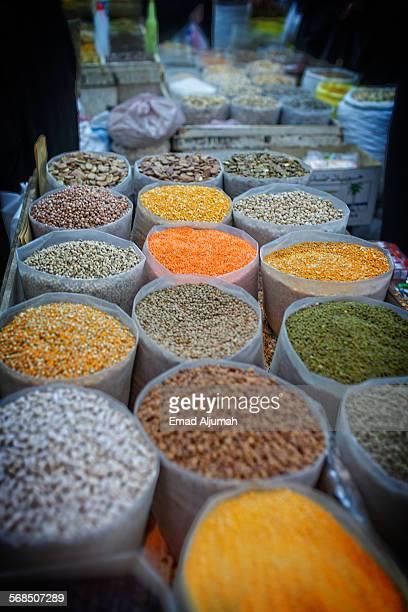 spices at souk bab al bahrain, manama, bahrain - manama stock pictures, royalty-free photos & images