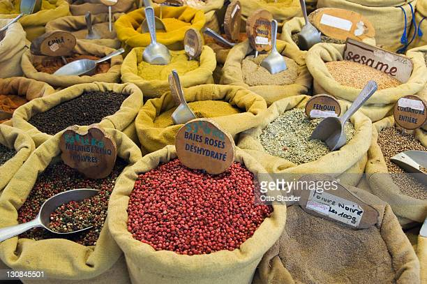 Spices at the market in Ajaccio, Corsica, France, Europe