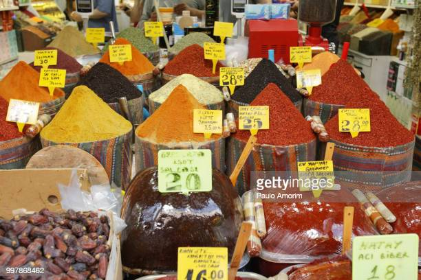 Spices for sale at Historic Spice Market in Istanbul,Turkey