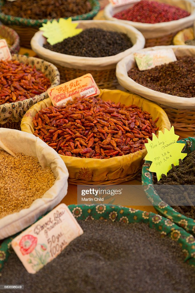 Spices for sale in Aix en Provence : Stock Photo