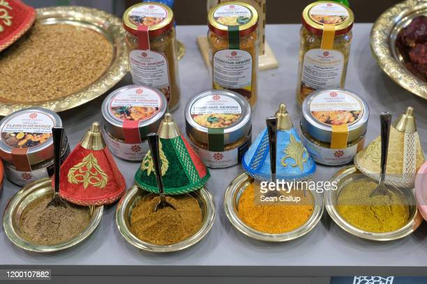 Spices from Morocco lie on display at the Green Week agricultural trade fair on January 17 2020 in Berlin Germany Green Week will be open to the...
