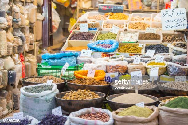 spices, fruits and nuts at the bazaar of kerman, iran - iranian culture stock photos and pictures