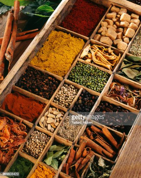 Spices in a compartment box