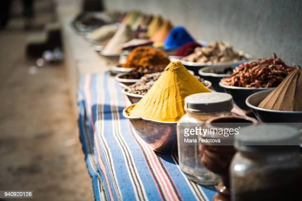 spices in a traditional market (souk) - souk stock pictures, royalty-free photos & images