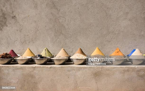 spices in a traditional market - souk stock pictures, royalty-free photos & images