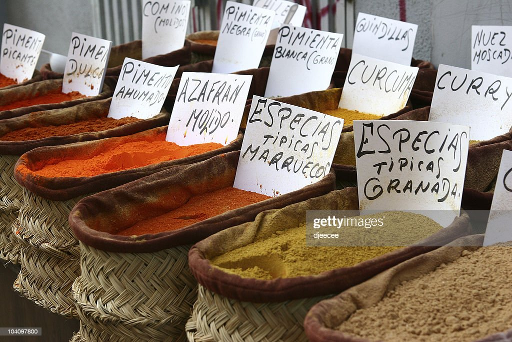 Spices in andalousia shop, Spain : Stock Photo