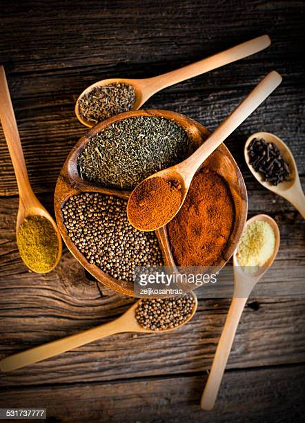 Spices in bowl and spoons