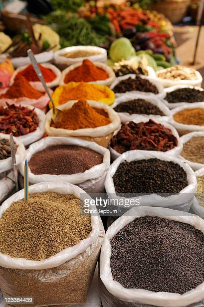 spices in market - panjim stock photos and pictures