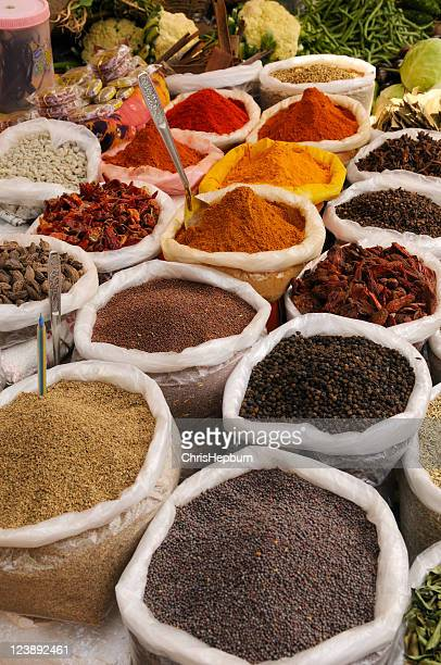 spices in market - india market stock photos and pictures