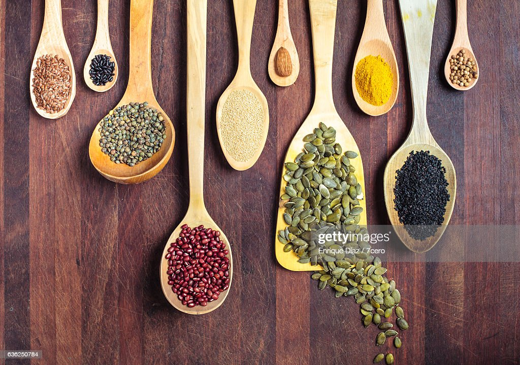 Spices, nuts, seeds, grains and pulses. : ストックフォト