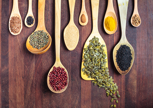 Spices, nuts, seeds, grains and pulses. - gettyimageskorea
