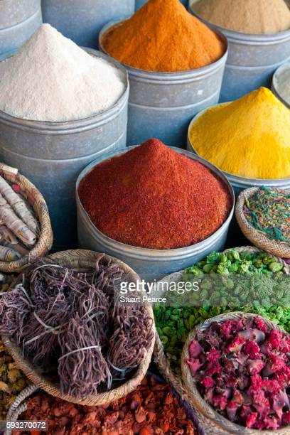 Spices on a market stall, Marrakech, Morocco
