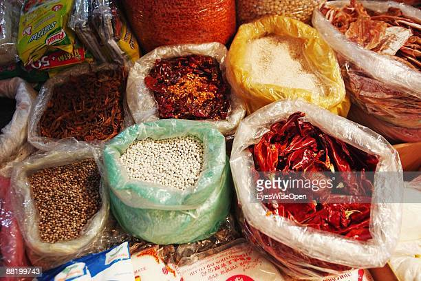 Spices on a marketplace in Siem Reap where Tourists take part in a cooking course to learn how to cook the traditional Fish Amok on December 28 2008...