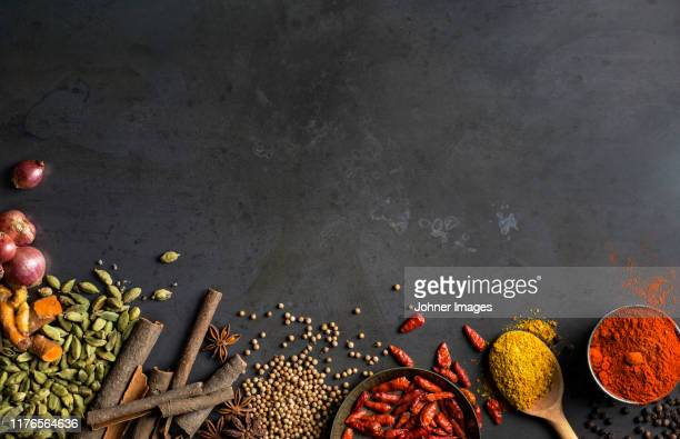 spices on grey background - spice stock pictures, royalty-free photos & images