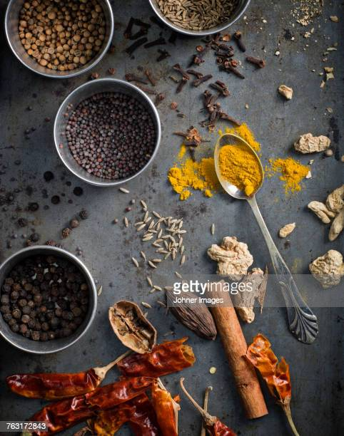 Spices on grey background