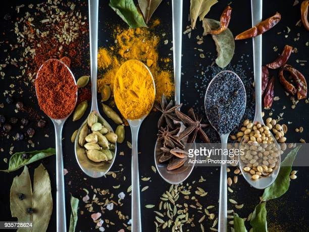 spices on spoon against black background - spice stock pictures, royalty-free photos & images