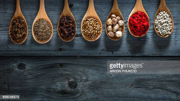 Spices on spoons in wooden background