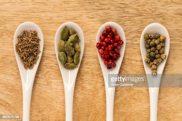 Spices on spoons
