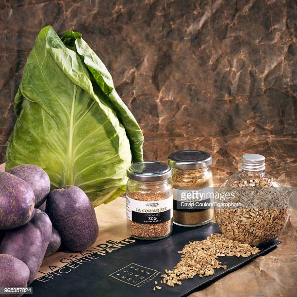 Spices, potatoes and cabbage to create the dish from chef Pierre Touitou's restaurant Vivant are photographed for Madame Figaro on October 23, 2017...