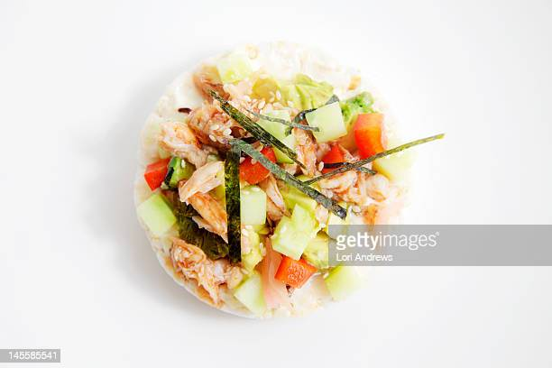 Spicy california roll, on rice cake