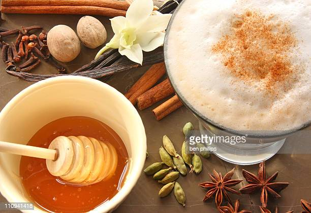 spicy chai latte - chai stock photos and pictures