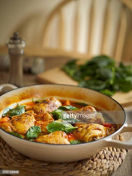 spicy chicken,spinach stew