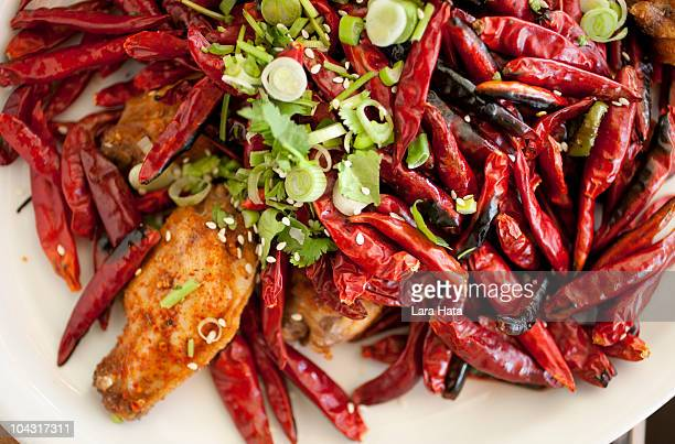 Spicy Fried Chicken Wings with Red Chili Peppers