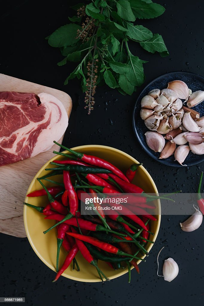 Spicy ingredients of Thai food : Stock Photo
