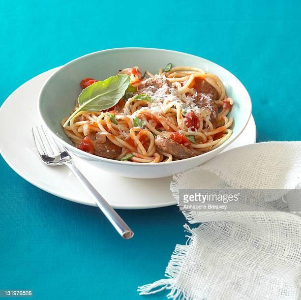 Spicy Italian Sausage Tomato Basil Pasta Bowl