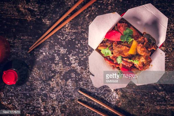 spicy kung pao chicken - chinese takeout stock pictures, royalty-free photos & images