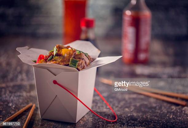 spicy kung pao chicken take out food - chinese food stock pictures, royalty-free photos & images