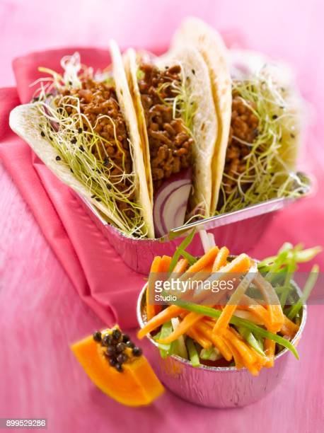 spicy minced meat tacos,papaya salad - mexican picnic stock pictures, royalty-free photos & images