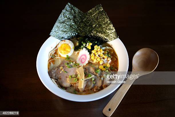 Spicy Miso Ramen with thin noodles at Inaka in Allston for Dining Out Ramen spots