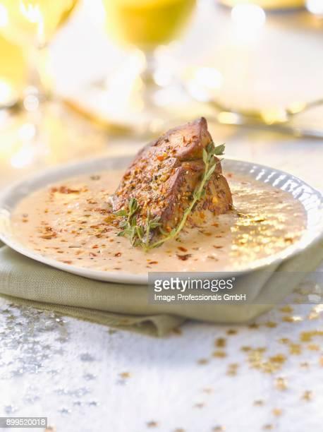 spicy pan-fried foie gras with espuma - gras fotografías e imágenes de stock