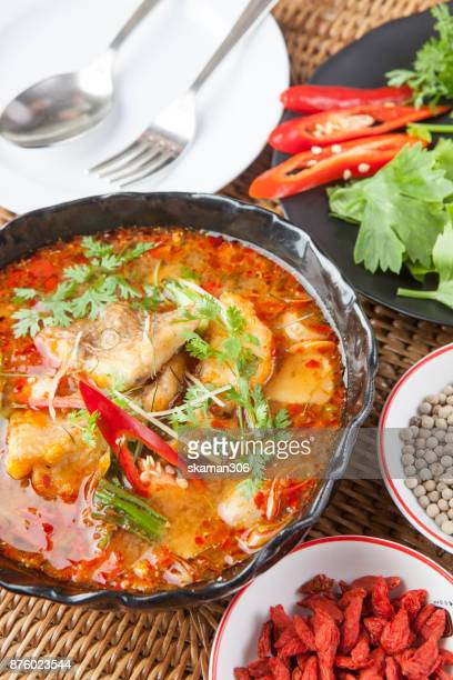 spicy thai cuisine with red curry and herb