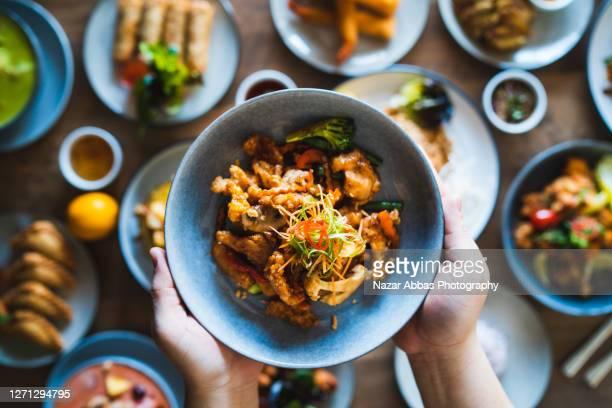 spicy thai fried pork. - thailand stockfoto's en -beelden