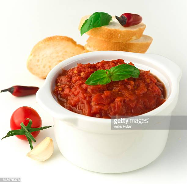 Spicy tomato sauce in a bowl