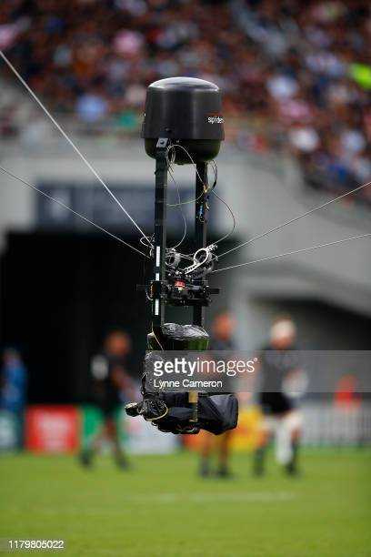 Spider cam during the Rugby World Cup 2019 Group B game between New Zealand and Namibia at Tokyo Stadium on October 6, 2019 in Chofu, Tokyo, Japan.