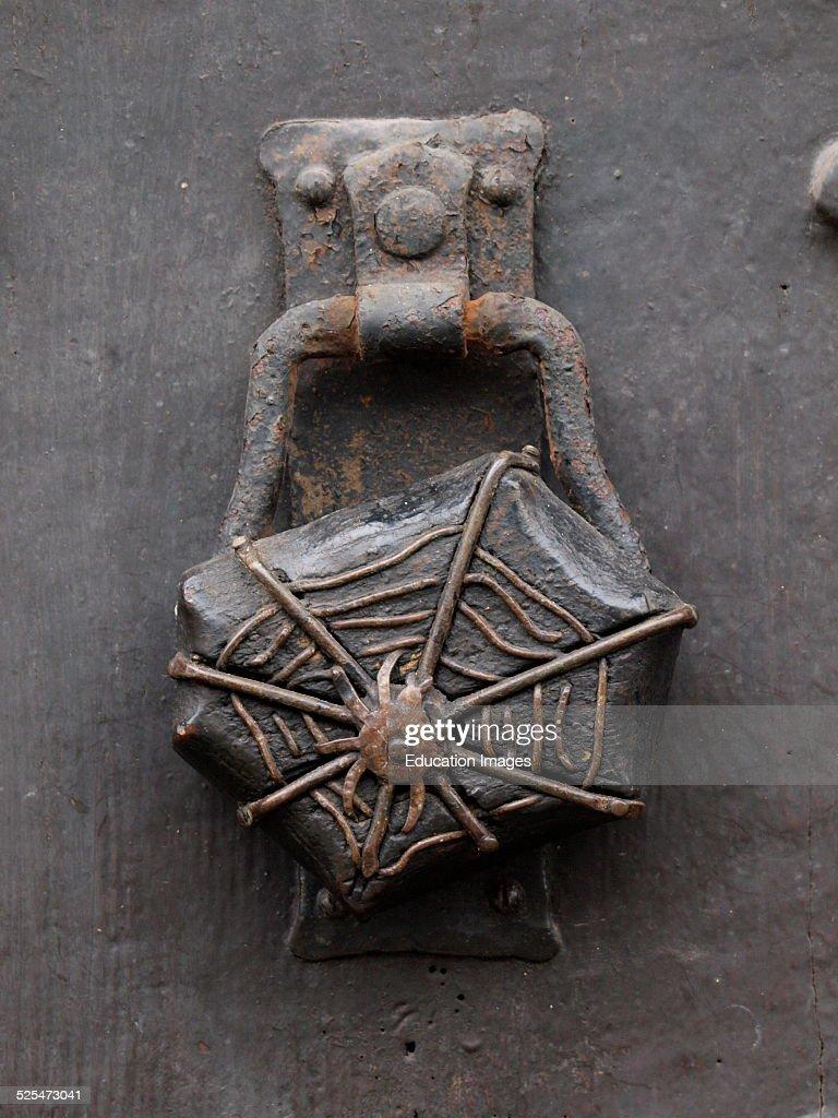 Spider in web door knocker UK. & Spider in web door knocker Pictures | Getty Images
