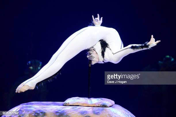 A 'Spider' performs during the Cirque du Soleil 'OVO' dress rehearsal at Royal Albert Hall on January 9 2018 in London England