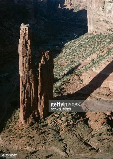 Spider Rock, Canyon de Chelly Monument, Navajo Indian Reservation, Arizona, United States of America.
