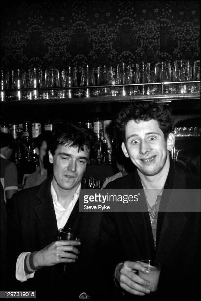 Spider Stacy and Shane MacGowan, of The Pogues at the Crown pub, on Cricklewood Broadway, London, 1984.