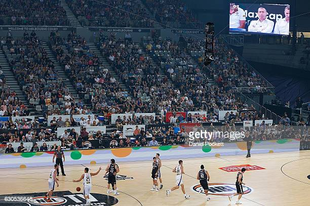 Spidercam is seen in action during the round 12 NBL match between Melbourne and Brisbane at Hisense Arena on December 26 2016 in Melbourne Australia