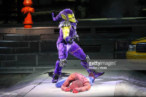 Spiderman and Green Goblin characters perform during a preview session of 'Marvel Universe Live' at Palacio de los Deportes on April 15 2019 in...