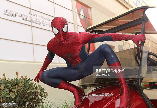 Spiderman attends The Amazing Spiderman fan event at Sony Pictures Studios on November 16 2013 in Culver City California