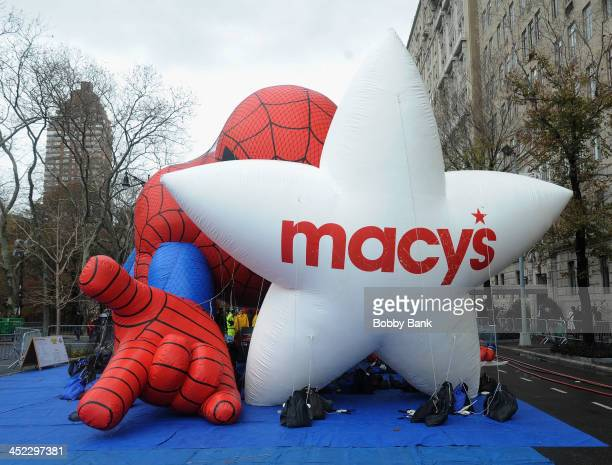 Spiderman balloon seen on inflation eve for the 87th annual Macy's Thanksgiving Day parade on November 27 2013 in New York City